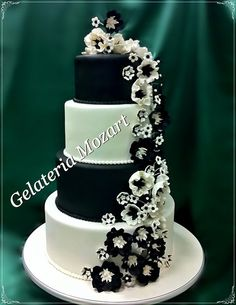 Most wedding cakes for celebrations: Black and white flowers for ...