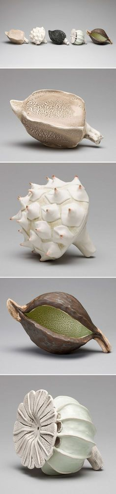 "Delicate yet strong. This is the ""Pod Series"" by Australian ceramicist Karen Millar. She explores ""the relationship between growth and decay, loss and hope, soft and hard, vulnerable and defensive, li"