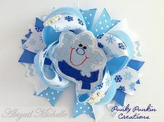 Snowflake Hair Clippie and Bow Center Set | In the Hoop | Machine Embroidery Designs | SWAKembroidery.com Abigail Michelle