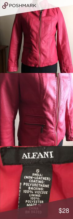 Alfani Red Leather Coat Red leather jacket. NWOT. Tags removed but never worn. Lightweight and lined. Alfani Jackets & Coats