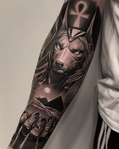 """Anubis"" by 🔥 Hand Tattoos For Guys, Cool Forearm Tattoos, Leg Tattoos, Body Art Tattoos, Sleeve Tattoos, Tattoo Ink, Egyptian Eye Tattoos, Egyptian Tattoo Sleeve, Realistic Tattoo Sleeve"