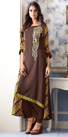 Fabulous Coffee Brown and Olive Green Kurti Dress Indian Style, Indian Dresses, Indian Outfits, Kurta Designs, Blouse Designs, Mode Hijab, Types Of Dresses, Indian Ethnic Wear, India Fashion