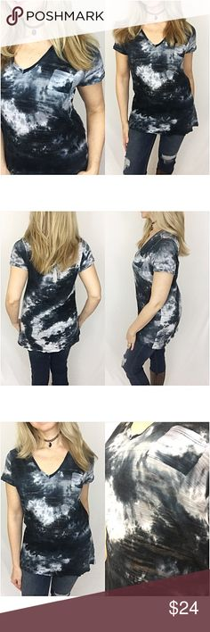 "Tie Dye Short Sleeve Pocket Tunic Tee SML Be cool & trendy in this gorgeous tie dye pocket tee. V-neck with distressed edges. Burnout cotton with stretch in shades of ink blue, black & ivory.   Small Bust 32-34 Length 26"" Medium Bust 36 Length 26.5"" Large Bust 38 Length 27"" Tops Tees - Short Sleeve"