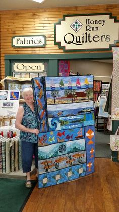 Ramblin' Rows: My friend Sandy with her Row x Row at Honey Run Quilters, Chico CA!!!