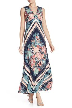 London Times Matte Jersey Scarf Print V-Neck Dress African Dashiki, African Dresses For Women, African Clothes, Floral Print Maxi Dress, Hijab Dress, V Neck Dress, Nordstrom Dresses, Festival Fashion, Floral Prints