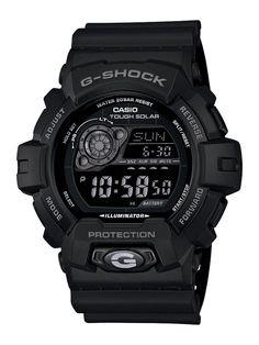 Casio Mens GR8900A-1 G-Shock Tough Solar Digital Black Resin Sport Watch
