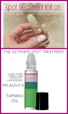 DIY Spot Treatment Roll-On-This DIY works insanely well! Plus-no toxic ingredients! Essential Oil Carrier Oils, Essential Oil Uses, Young Living Essential Oils, Back Acne Treatment, Acne Oil, Tamanu Oil, Beauty Recipe, Melaleuca, Diy Skin Care