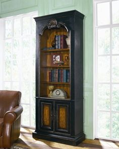 Northhampton by Hooker bookcase779-50-101.  Too decorative?  like the cabinet space below.  37(w) x 14.5(d) x 90 (h)...too high??
