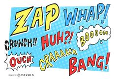 Illustrated set of comic sounds and actions in a pop art style. It also includes different actions, speech bubbles and more!