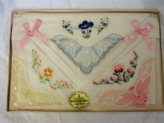 Hankie Set of (3), Gift Boxed Hankies,Flower Hankies Ladies Accessories, Vintage Handkerchiefs, Pink and Blue Hankies, Rose Bow Tied Hankies by GinnysGirlsTreasures on Etsy