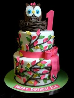 girls baby shower owl cake - Google Search