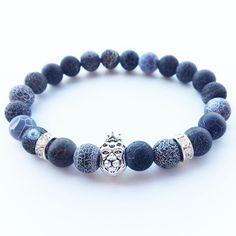 Lava Agate Bracelet For Men's Women's Lion Energy Stone Beaded Charm Simple Bracelets, Gemstone Bracelets, Bracelets For Men, Fashion Bracelets, Fashion Jewelry, Feather Jewelry, Beaded Jewelry, Men's Jewelry, Handmade Jewelry