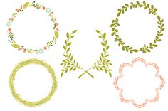 Wreaths, Laurels & Frames by Cocoa Mint on Creative Market