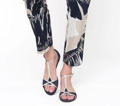 Sandale salomé compensée cuir bleue - Sandales talon - Chaussures femme