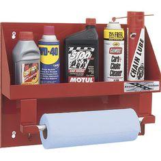Go Rhino Garage and Shop Organizer — Large Oil Bottle Holder with Shop Towel Rack