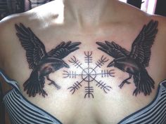 Viking Helm of Awe and Ravens Norse Chest Tattoo
