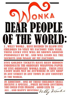 """Willy Wonka << We used this to kick off our Charlie and the Chocolate Factory book party - Can Use """"Contract"""" as guestbook Wonka Chocolate Factory, Charlie Chocolate Factory, Chocolate Party, Roald Dahl, Candy Party, People Of The World, Candyland, Tim Burton, Party Themes"""