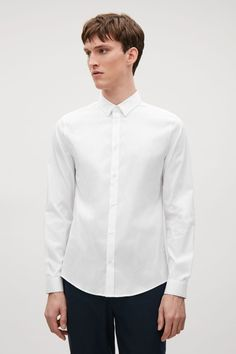 COS image 7 of Slim-fit textured shirt in White