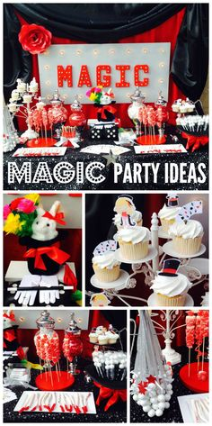 A black, white and red girl birthday party with a Magic theme, a white rabbit and an awesome backdrop!  See more party ideas at CatchMyParty.com!