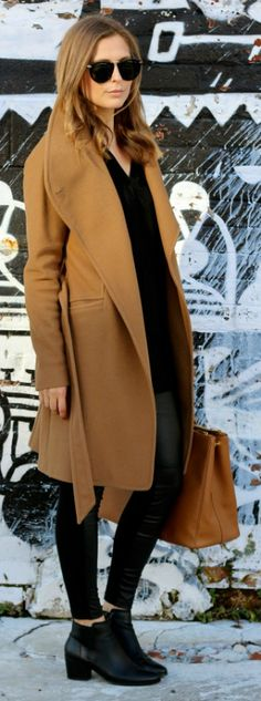 We recommend wearing a camel coat over an all black outfit for the ultimate casual style. Via Amy (curatedbyamy.com).   Leggings: Joe Fresh, Boots: Amazon. Fall Outfits.