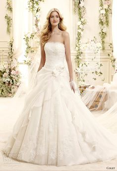 colet bridal 2015 style 22 coab15231iv straight across strapless a line wedding dress