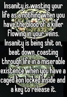 Insanity is wasting your life as a nothing when you have the blood of a killer flowing in your veins. Insanity is being shit on, beat down, coasting through life in a miserable existence when you have a caged lion locked inside and a key to release it.