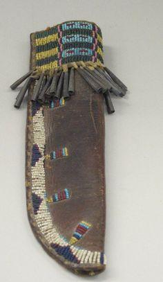 Cheyenne, Native American. Knife Case, Fourth Quarter 19th Century. Hide, glass beads, metal, sinew, 2 3/4 x 9 3/4 in. (7 x 24.8 cm). Brooklyn Museum, Brooklyn Museum Collection, X1176.3. Creative Commons-BY (Photo: Brooklyn Museum, CUR.X1176.3.jpg)