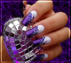 White base Purple flower tips & nails with floral nail art Purple Acrylic Nails, Purple Nail Art, Purple Nail Designs, Pretty Nail Art, Best Acrylic Nails, Acrylic Nail Designs, Nail Art Designs, Long Nail Art, Long Nails