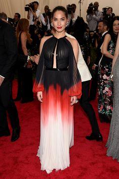 Olivia Munn in J. Mendel   - HarpersBAZAAR.com That dress looks like a dead butterfly