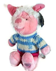 "Piglet Winter Blue Snowflake Striped Sweater Hat Disney Store 11"" Plush Pooh"