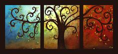 Curly Tree Triptych is a painting by Elaine Hodges - found on fineartamerica.com