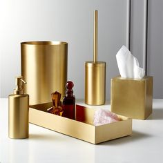 Hand made, real brass bath accessories add polish to your daily routine. Minimal design and brushed finish keeps it everyday. Modern Bathroom Accessories, Sink Accessories, Gold Home Accessories, Tissue Box Covers, Tissue Boxes, Brass Bathroom, Bathroom Sets, Rental Bathroom, Master Bathroom