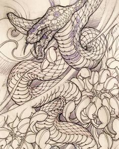 Snake sketch by: @davidhoangtattoo