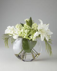John-Richard Collection - Green & White Faux Flowers