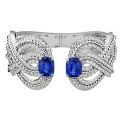 Azurean braid #Bracelet from #FlyingCloud - #Chanel - #FineJewelry collection in 18K white gold set with 2 #CushionCut blue #Sapphires (14,96 cts) and 390 #BrilliantCut - #Diamonds - July 2017