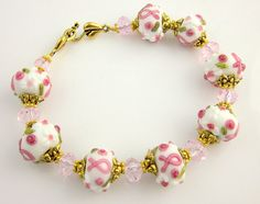 Breast Cancer Awareness Glass Beads Bracelet Pink by ramonahall, $50.00