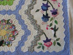 Grandmother's Flower Garden quilt detail by Laurie