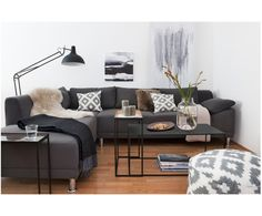 Winterly living This is how our look works with you Living Room Sectional, My Living Room, Home And Living, Living Area, Interior Design Living Room, Interior Decorating, Color Beige, Dark Grey Sectional, Bookshelves
