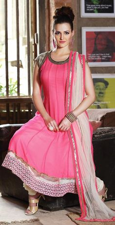 $174.28 Pink Beads Work Faux Georgette Anarkali Salwar Suit 26056