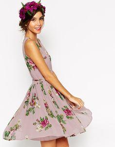 ASOS WEDDING Lilac Floral Skater Mini Dress