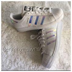 buy online 17212 8bc34 Adidas Superstars Iridescent Hologram Sneakers New adidas superstars girls  grade school trainers in iridescent stripes.
