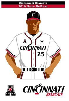 Cincinnati Bearcats 2016 home baseball uniform concept. Using the new Under Armour Cincinnati Stripe for the sleeve stripe.