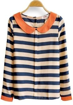 Blue Apricot Striped Long Sleeve Lapel Blouse - Click image to find more Womens Fashion Pinterest pins