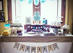 This is a great idea for a boys birthday party or baby shower. The zig-zag/chevron cake is amazing. Chevron & Stache Dessert Table via Sweetapolita Décoration Baby Shower, Shower Bebe, Baby Shower Parties, Baby Birthday, Birthday Parties, 30th Party, Birthday Ideas, Birthday Cake, Chevron Cakes
