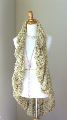 BEIGE Boho VEST CROCHET Vest Poncho Sweater Scarf Tops Fashion Cream Vest Chic Spring Fall Winter Handmade on Etsy, $62.00
