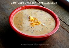 Low-Carb Chicken Tortilla Soup~  THM S, E or FP.  Ideas in the post.  Rich and delish!