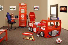Lit camion de pompier rouge enfant SAM, avec éclairage LED, sommier et matelas inclus