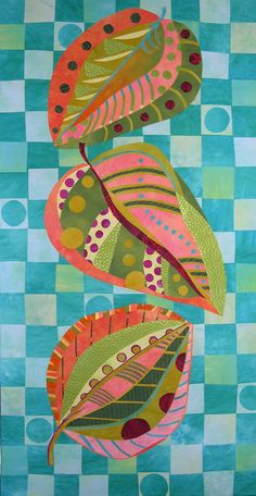 "Leaves quilt, 27"" x 52"" for 4000 dollars. Beautiful colors, prints and arrangement!  Artfabrik: Extraordinary hand dyed fabric and threads and art quilts by Laura Wasilowski"