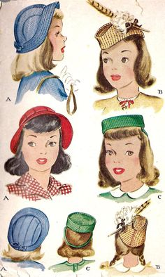 1940s Girls Hat Pattern, Vintage Sewing Pattern, McCall 1204 size 22""