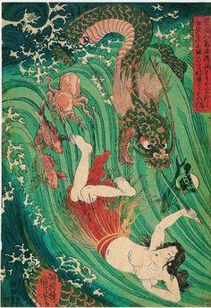 ukiyoe Shunga Makurae Erotic Art hirosige hokusai utamaro kuniyosi yositosi musha-e japan warriors Meiji Restoration, Traditional Japanese Art, Great Wave Off Kanagawa, Samurai Warrior, Late 20th Century, Japanese Painting, Photo Reference, Woodblock Print, Kappa